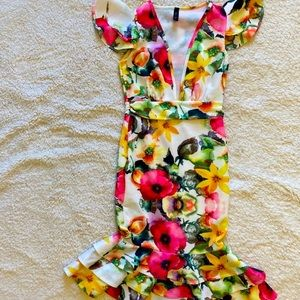 Women's Fashion Queen Floral VNeck Mermaid Dress S